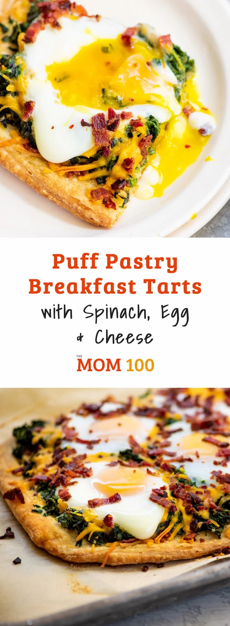 Puff Pastry Breakfast Tarts with Spinach, Egg and Cheese