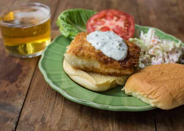 Just for the Halibut Fried Fish Sandwich with Lemon Basil Tartar Sauce / Sarah Crowder / Katie Workman / themom100.com