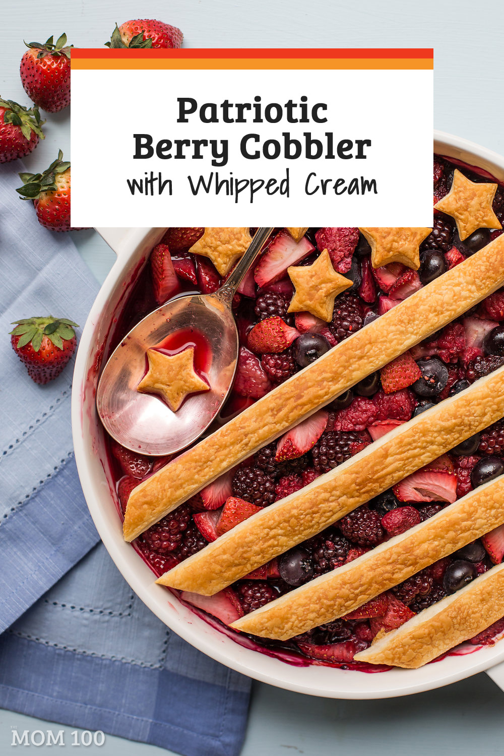 Patriotic Berry Cobbler with Whipped Cream: A red, white and blue dessert for any All-American holiday coming down the pike.