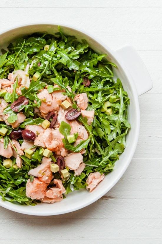 Salmon, Arugula, and Avocado Salad with Lemon Vinaigrette