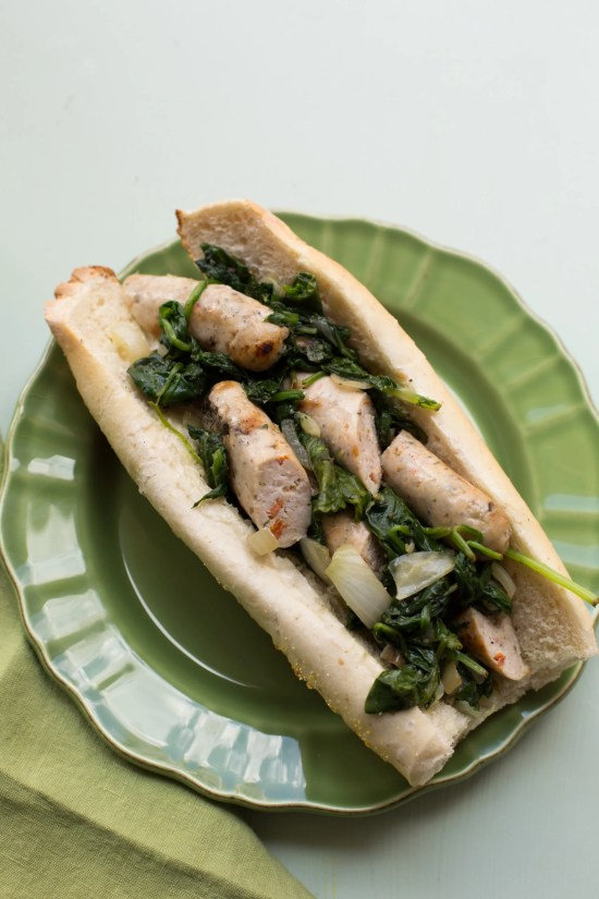 Chicken Sausage and Sautéed Greens Sub / Sarah Crowder / Katie Workman / themom100.com