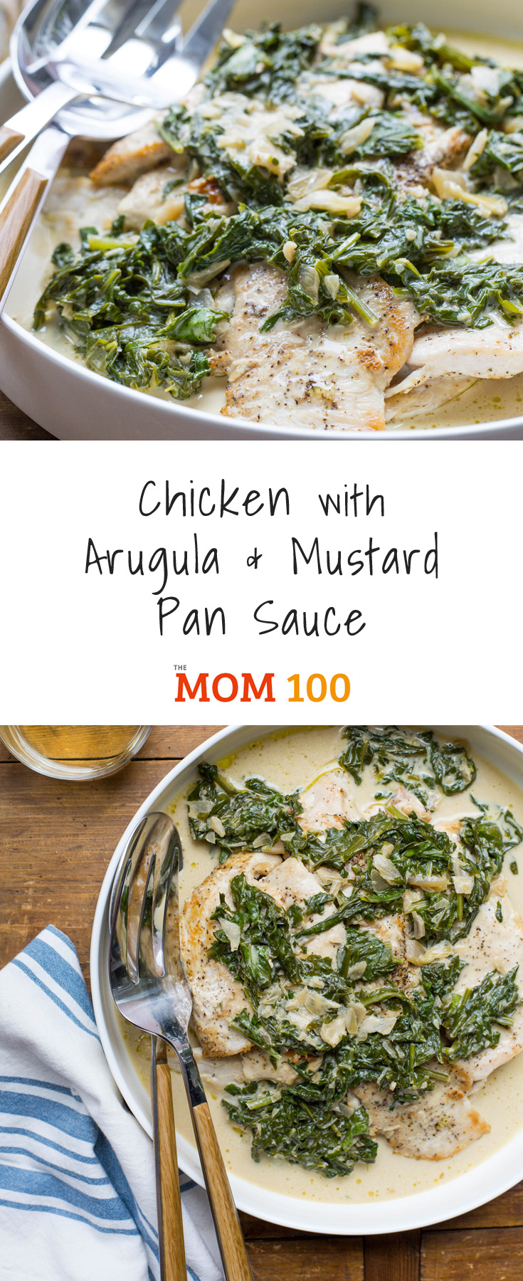 This Chicken with Arugula and Mustard Pan Sauce turns a handful of supporting ingredients and a couple of handfuls of arugula into an amazing pan sauce.