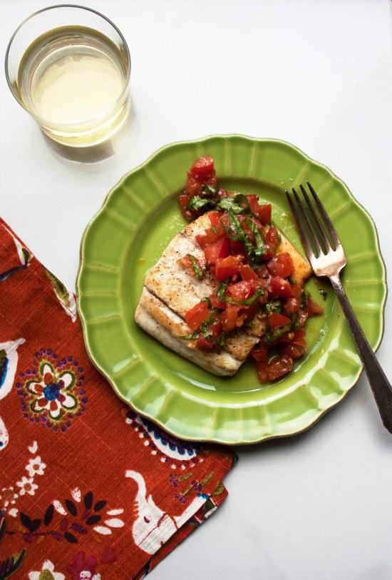 Pan Seared Fish with Tomato Basil Relish / Laura Agra / Katie Workman / themom100.com