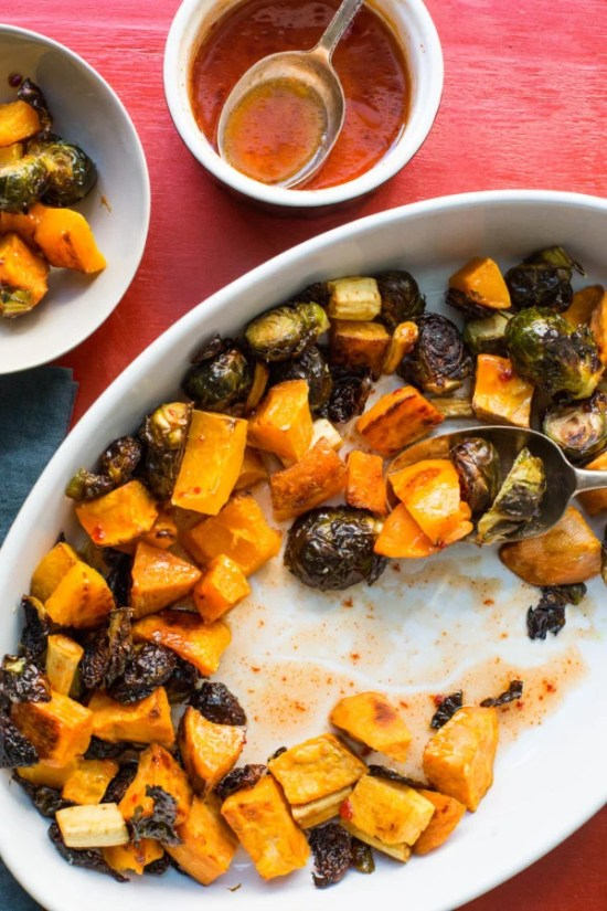 Roasted Vegetables with Sriracha Honey Glaze