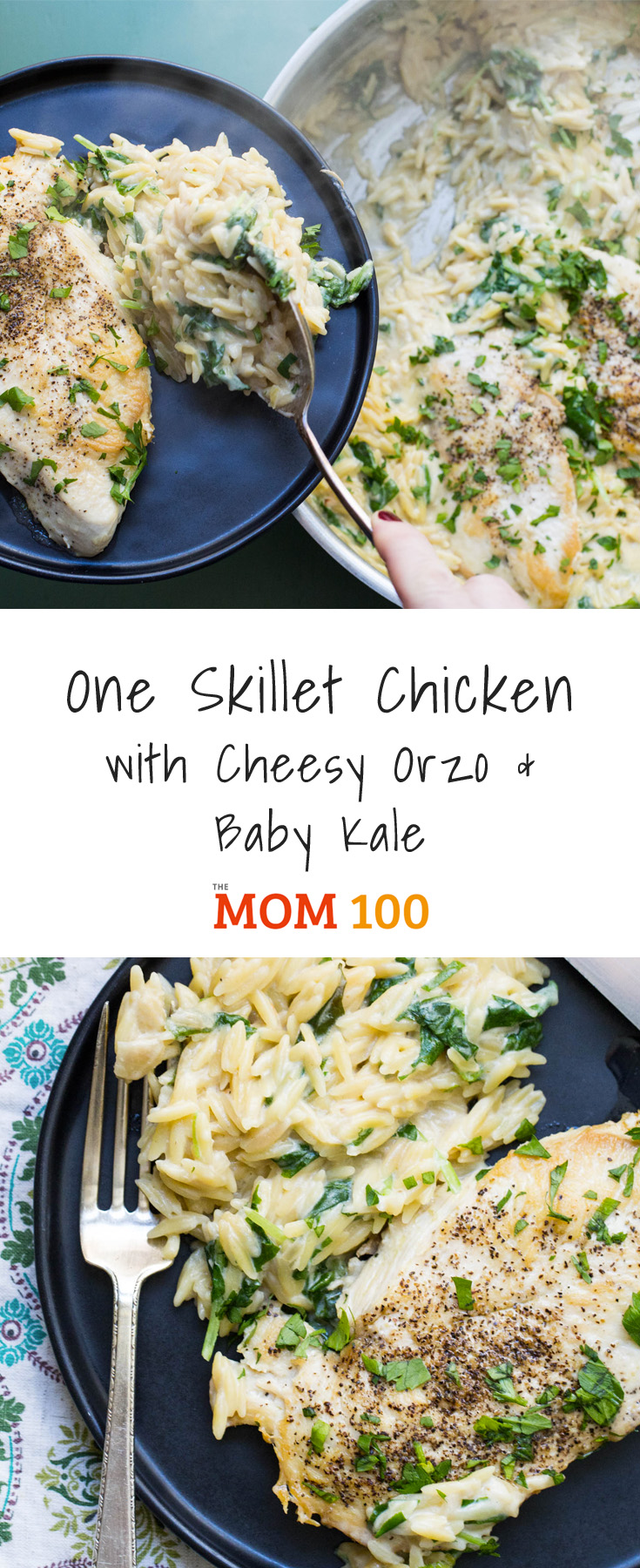 A one-skillet meal is the best combination of convenience and comfort food, this One Skillet Chicken with Cheesy Orzo and Baby Kale dish is no exception.