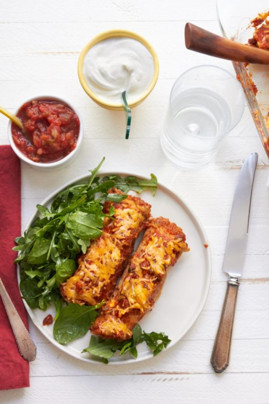 Spicy Chicken and Black Bean Enchiladas / Mia / Katie Workman / themom100.com