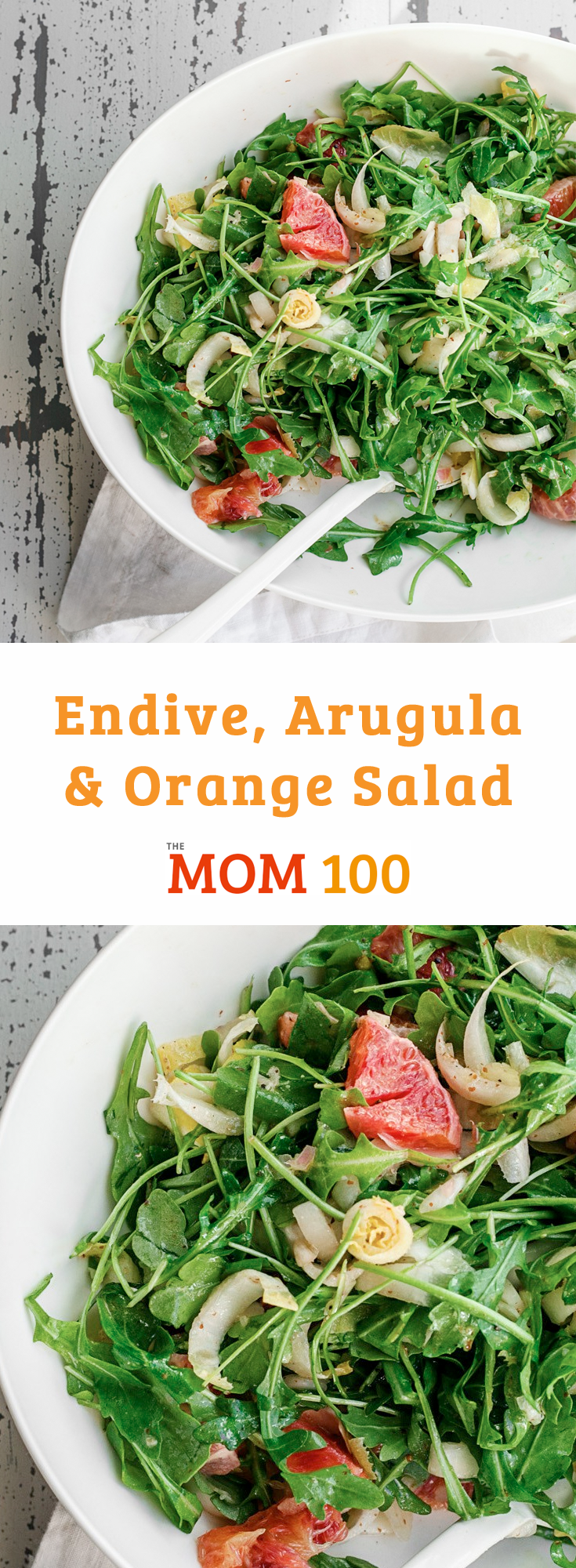 Endive, Arugula and Orange Salad: A bracing salad with a mix of greens, studded with pieces of juicy, beautiful orange. Especially great for winter.