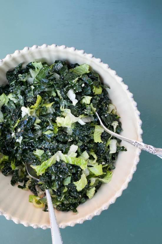 Romaine and Slivered Kale Salad with Lemon Dressing / Katie Workman / themom100.com