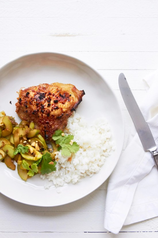 Thai Chicken Thighs with Thai Cucumber Salad / Photo by Mia / Katie Workman / themom100.com