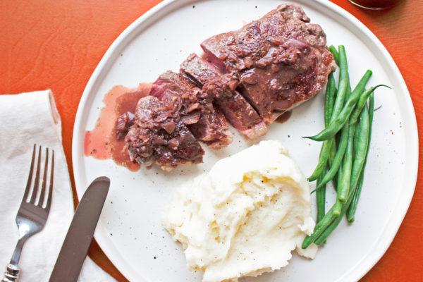 Easy Steak Diane Recipe / Katie Workman / themom100.com / Photo by Laura Agra