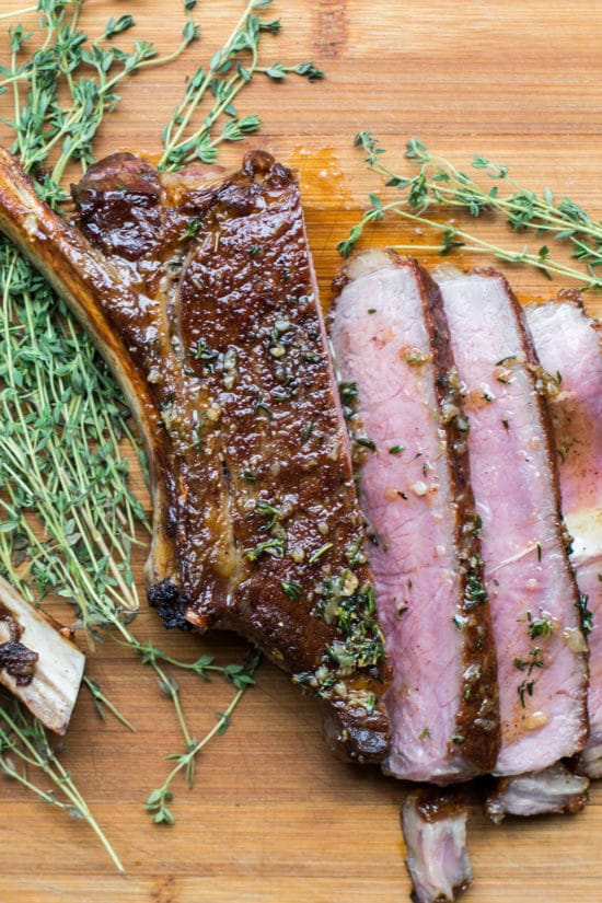 Rib Eye Steaks with Thyme-Garlic Butter