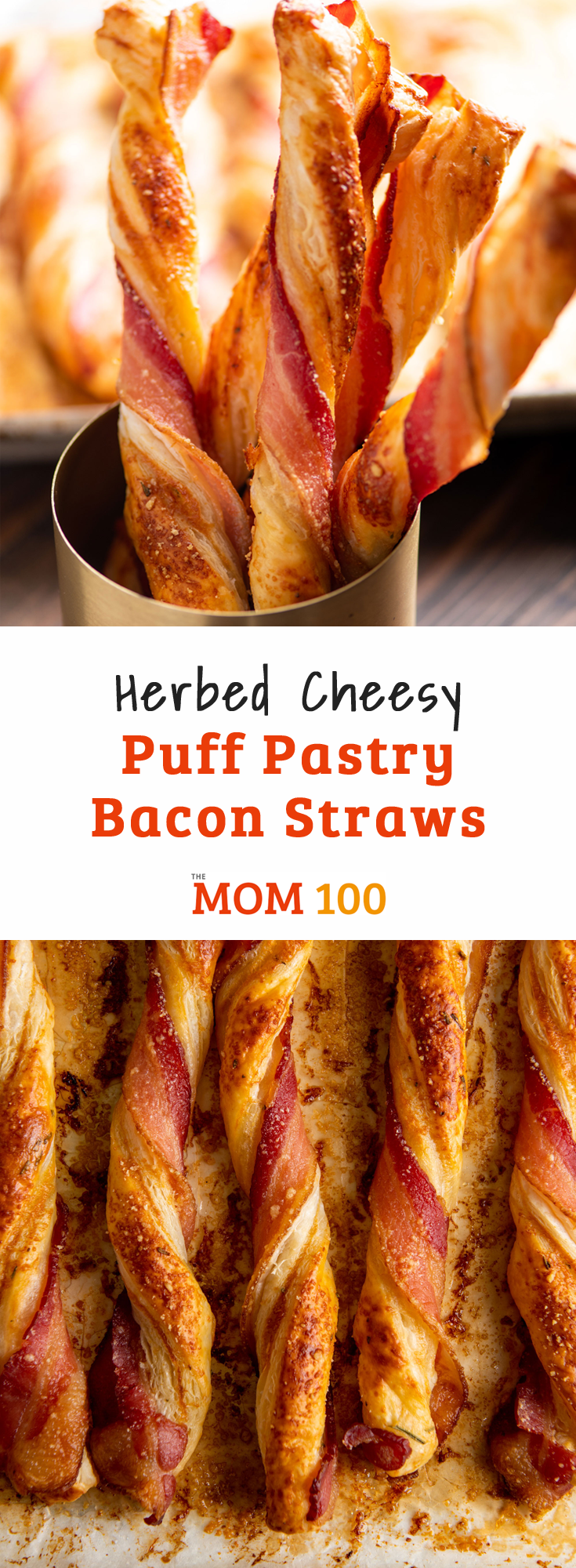 Herbed Cheesy Puff Pastry Bacon Straws / Flaky tender puff pastry gets all twisted up with cheese and bacon.