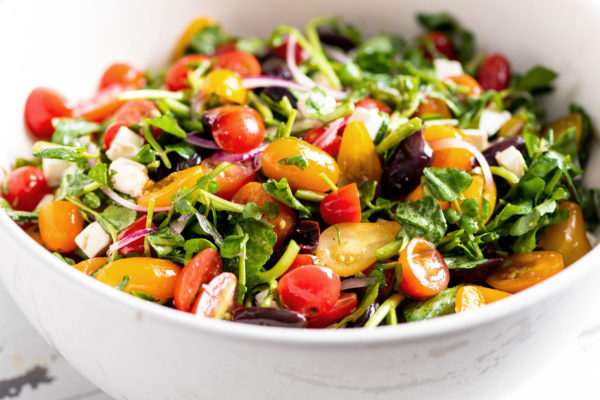 Tomato, Red Onion, Watercress, Feta and Olive Salad