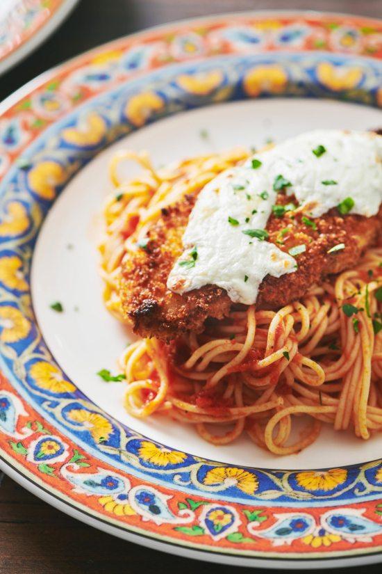 mozzarella melted over Chicken Parmigiana