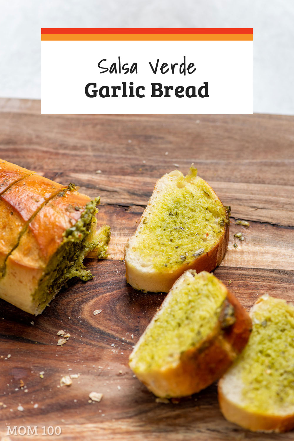 Salsa Verde Garlic Bread: Herby and scalliony salsa verde in sliced baguette - a delicious and cheerfully green take on garlic bread. #garlicbread #sidedish