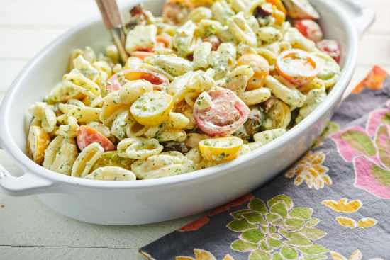 Pasta Salad with Tomatoes, Feta and Herbed Mayonnaise