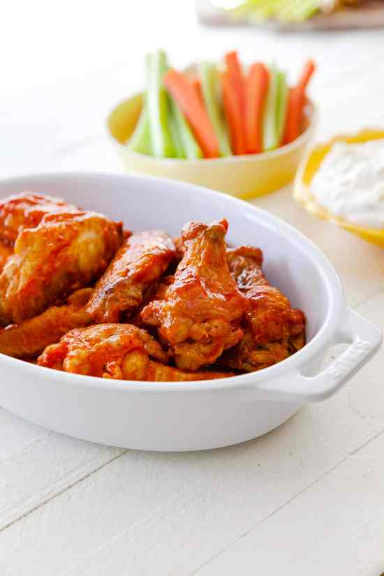 Air Fryer Buffalo Chicken Wings in a serving dish