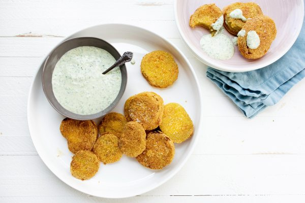 Fried Green Tomatoes with Green Goddess Dressing