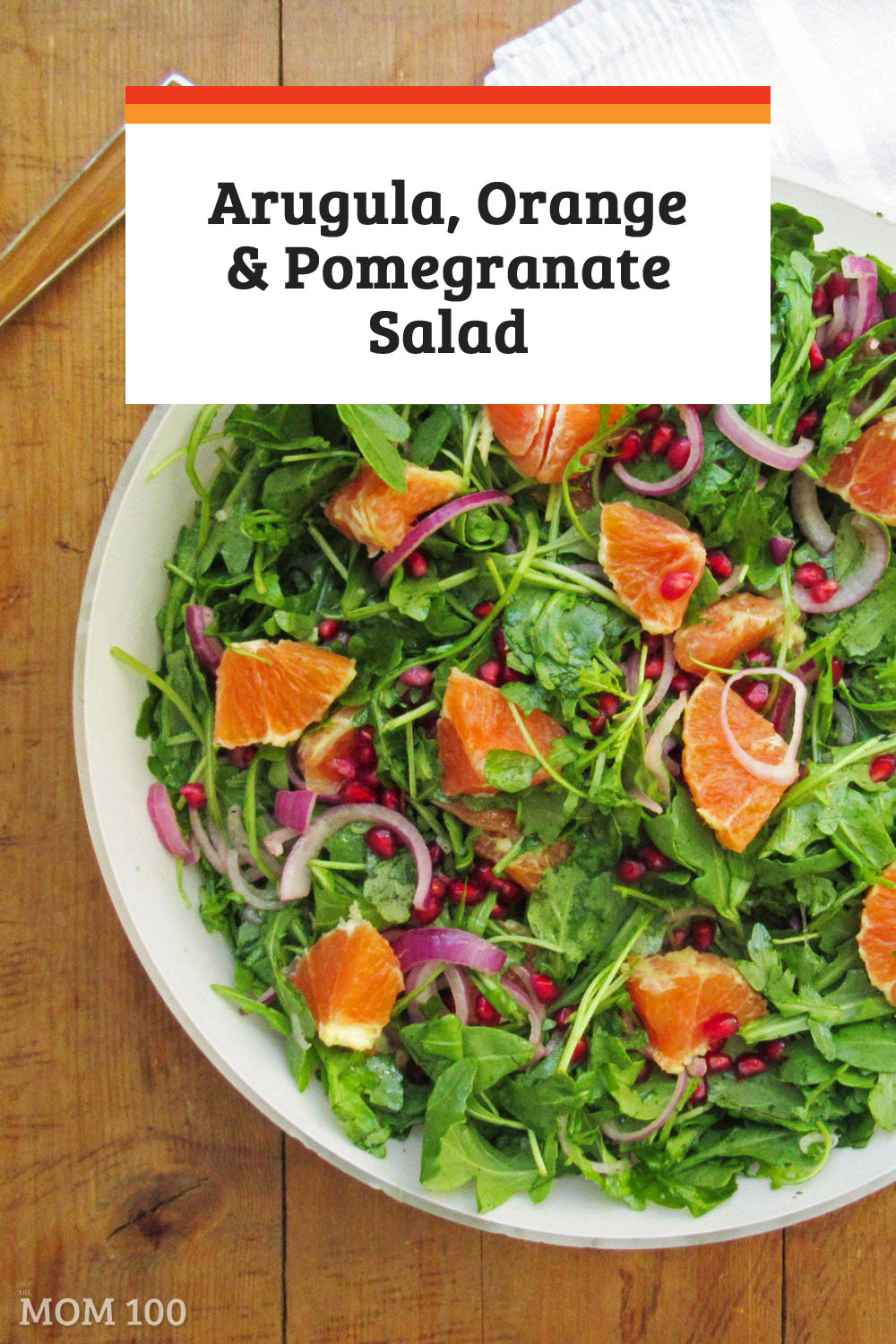 Arugula, Orange and Pomegranate Salad: A colorful, texture filled salad for the winter table.  15 minutes to make, but looks every bit like something you could find on a restaurant menu.  #salad #pomegranateseeds #holidaysalad