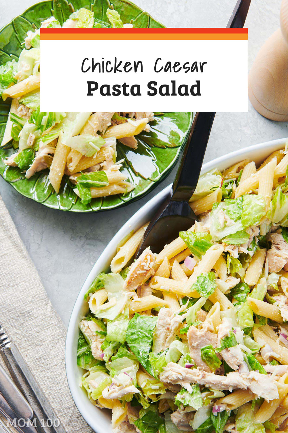 If you like Caesar Salad, and you also like pasta salad this is your lucky day. This Chicken Caesar Pasta Salad is the best of both worlds. #pastasalad #summer #caesardressing #caesarsalad