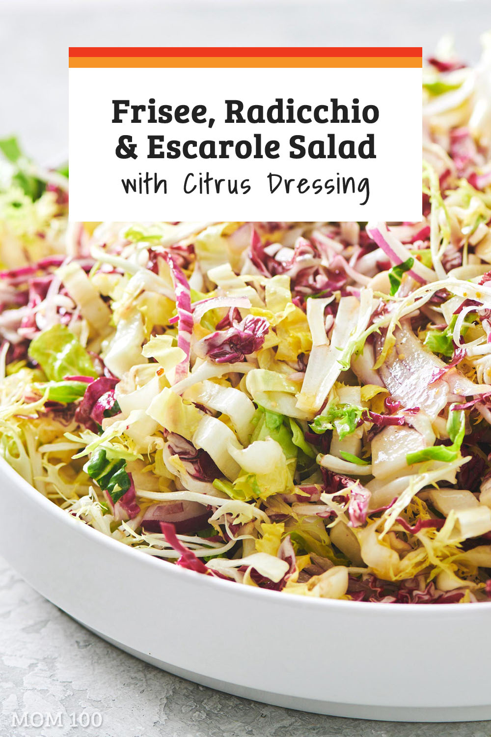 Frisee, Radicchio and Escarole Salad with Citrus Dressing: When you are serving up a rich main course, a bitter greens salad is the most amazing counterpoint. #salad #appetizer #sidedish