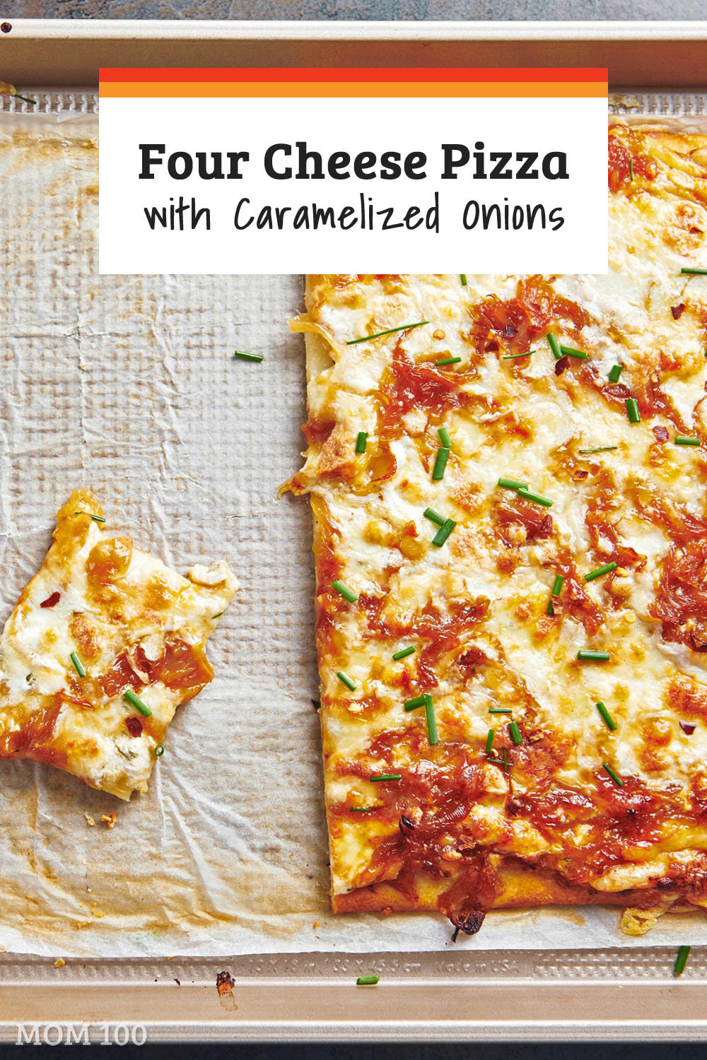 Four Cheese Pizza with Caramelized Onions: This refrigerated-dough based pizza recipe is topped with a ricotta blend, three more cheeses and a tangle of deeply flavored sauteed onions. #pizza