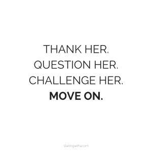 Heather Lowey- Inner Mean Girl quote- thank, question, challenge her, Move on.