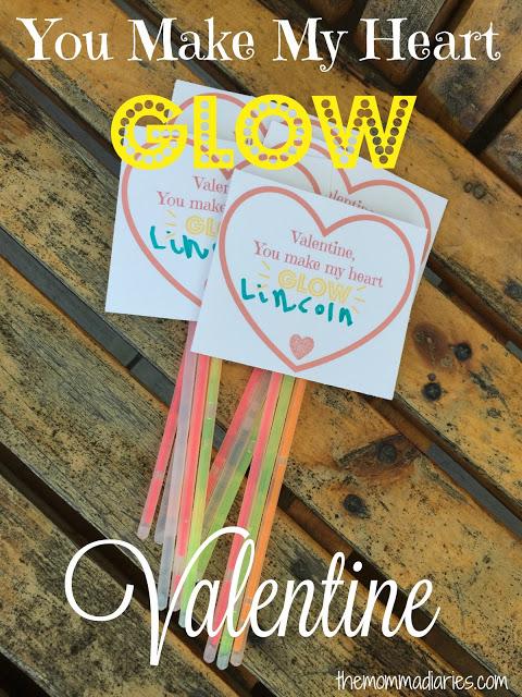 You Make my Hart Glow Valentines, Printable Glow stick Valentines, Free Valentine's Day Printable