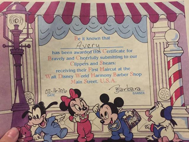 Disney First Haircut Certificate