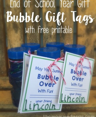 End of School Year Gift Bubble Gift Tags and FREE Printable!