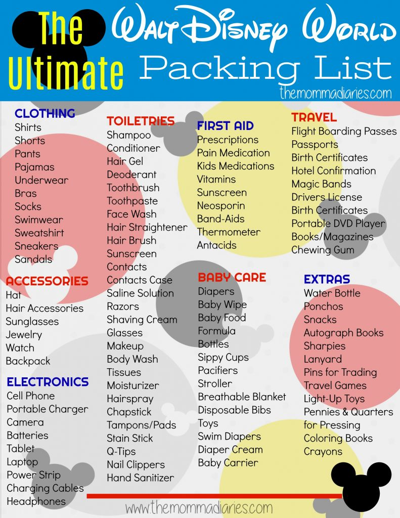 Disney Packing List, Disney World Packing List, Ultimate Disney Packing List