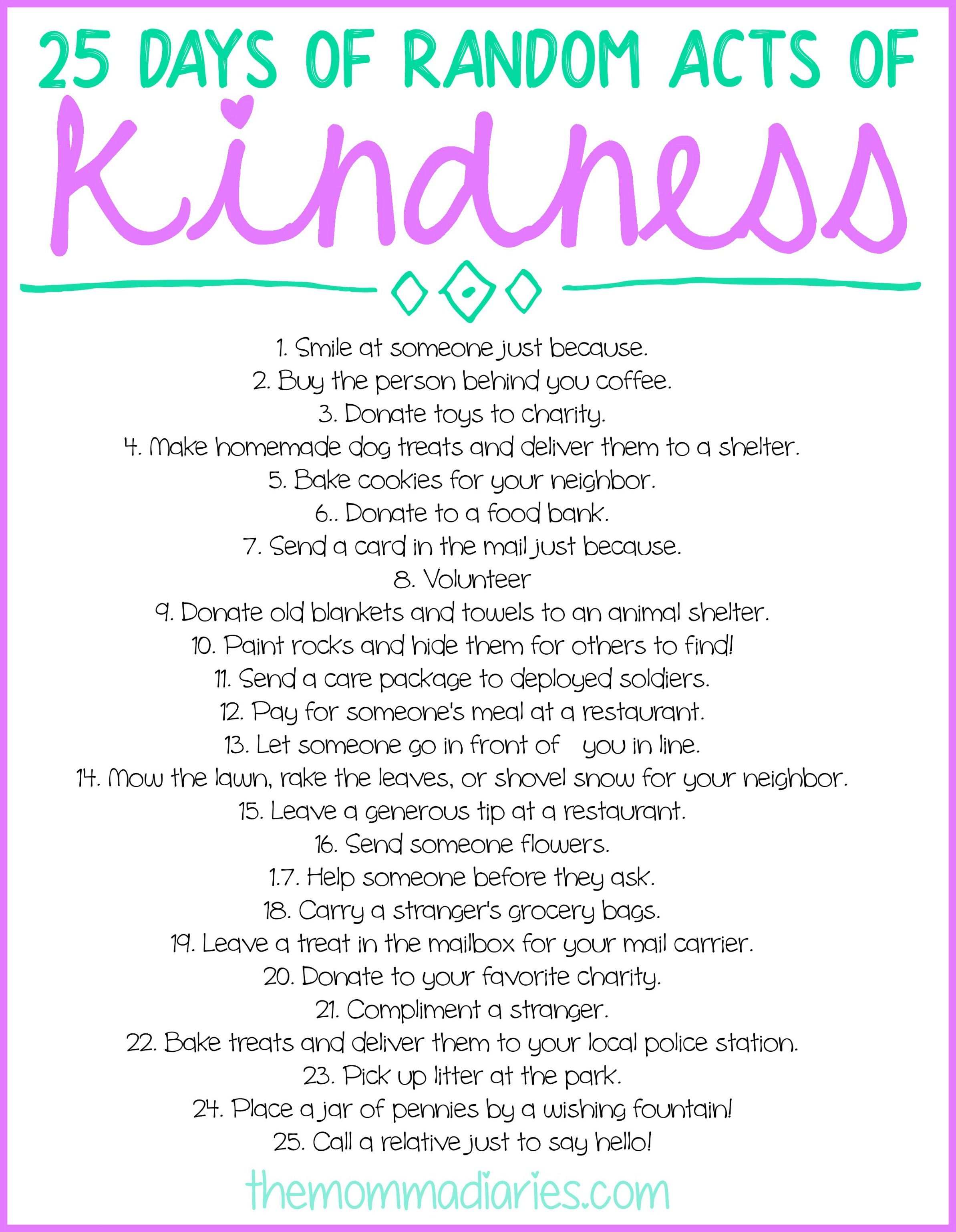 image regarding Random Act of Kindness Printable identify 25 Times of Random Functions of Kindness + Free of charge Printables! - The