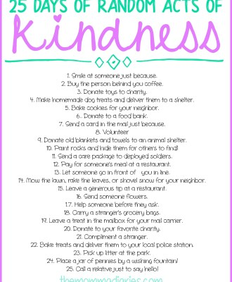 25 Days of Random Acts of Kindness + FREE Printables!