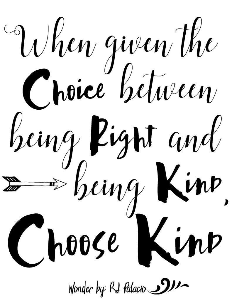 Wonder Printable Quote, Choose Kind Quote, When given the choice between being right and being kind, choose kind, kindness quote, be kind printable