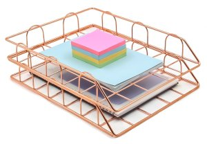 Rose Gold Stackable File Document Letter Tray Organizer