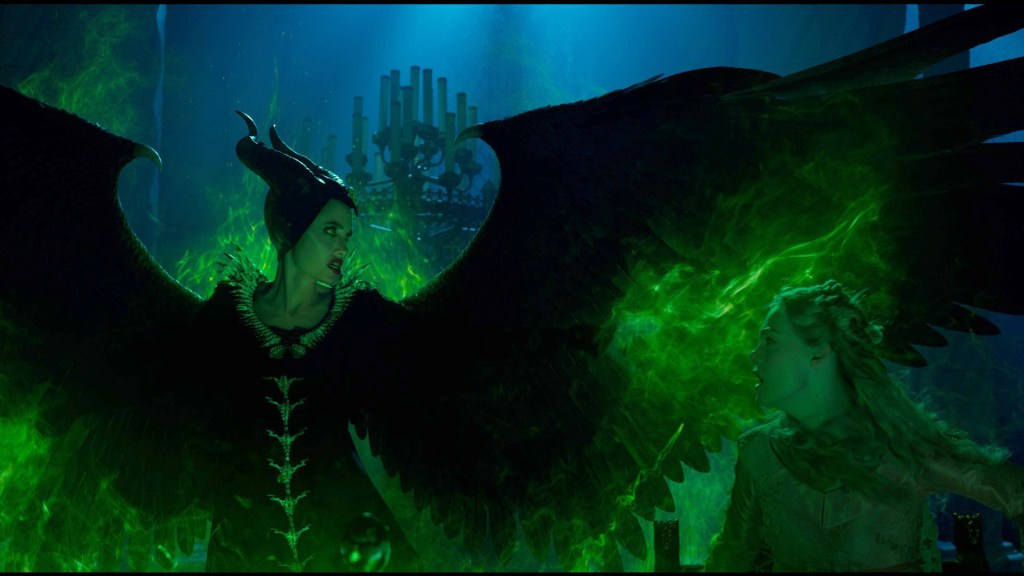 Angelina Jolie and Elle Fanning in Disney's Maleficent Mistress of Evil