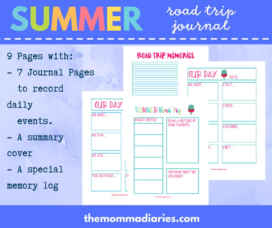 summer road trip journal, printable summer road trip journal