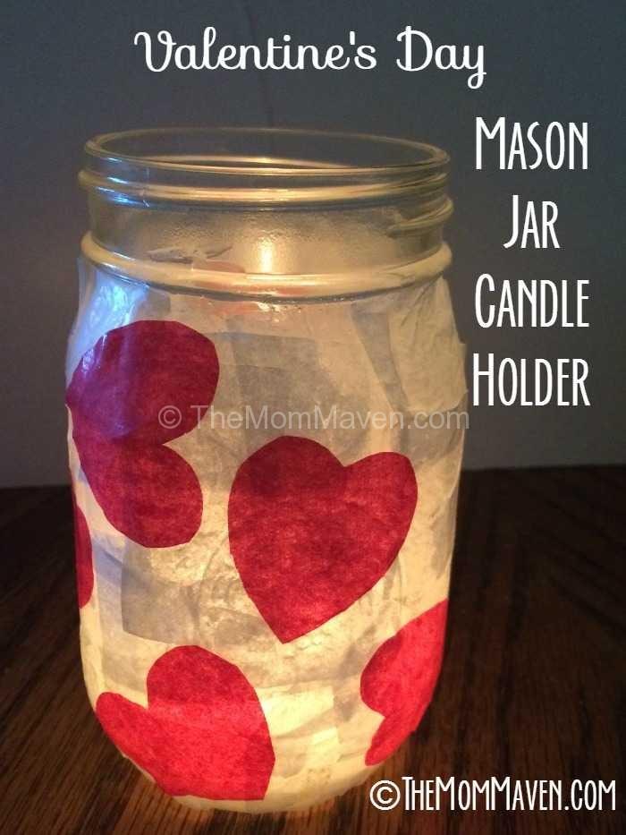 Valentines Day Mason Jar Candle Holder