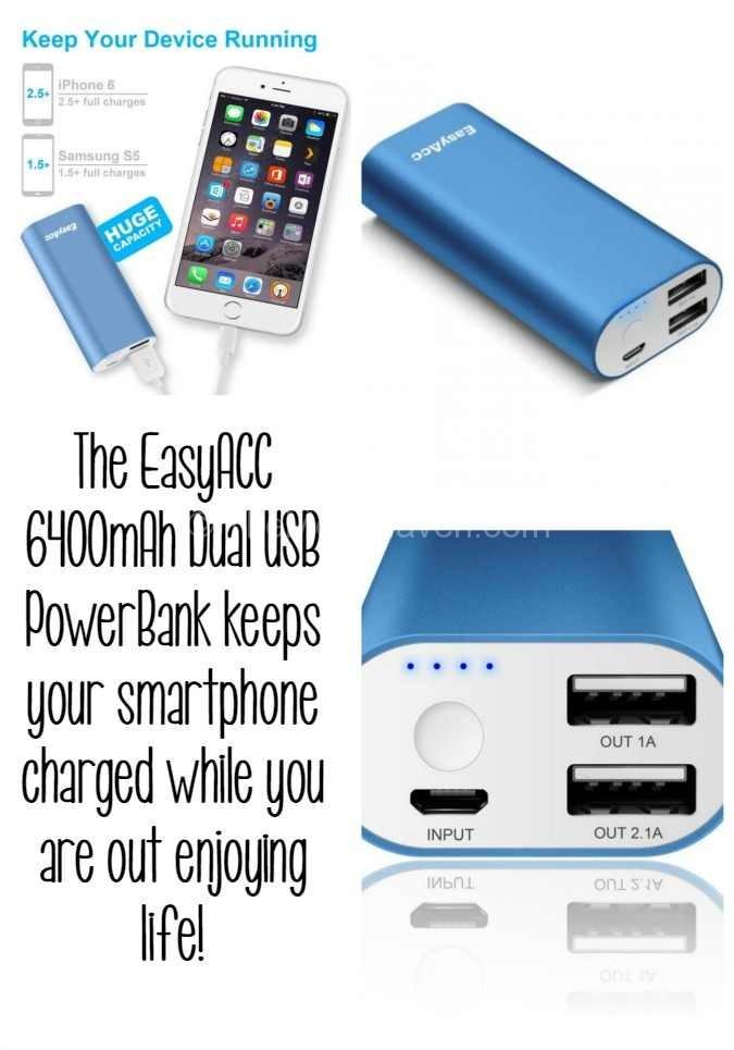The EasyAcc PowerBank keeps you charged