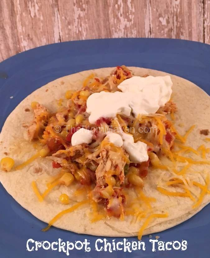 These easy shredded chicken tacos are made in the crockpot and are perfect for a busy week night dinner.