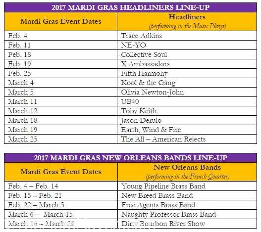 2017 Universal Orlando Mardi Gras Musical guest lineup