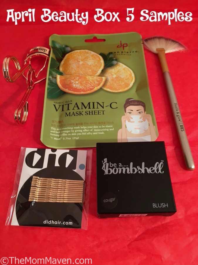 April Beauty Box 5 beauty product samples.