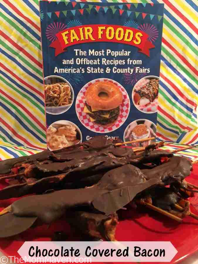 Fair Foods is an illustrated cookbook featuring the recipes of the most popular and offbeat food served at state and county fairs across the USA, including Chocolate Covered Bacon.