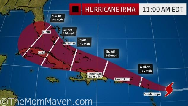 Hurricane Irma 11am on September 5, 2017