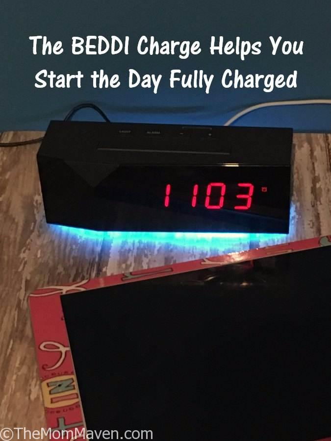 The BEDDI Charge alarm clock offers a sleek and compact way to keep track of the time, wake up peacefully, and charge up to 3 devices via the USB ports on the back.