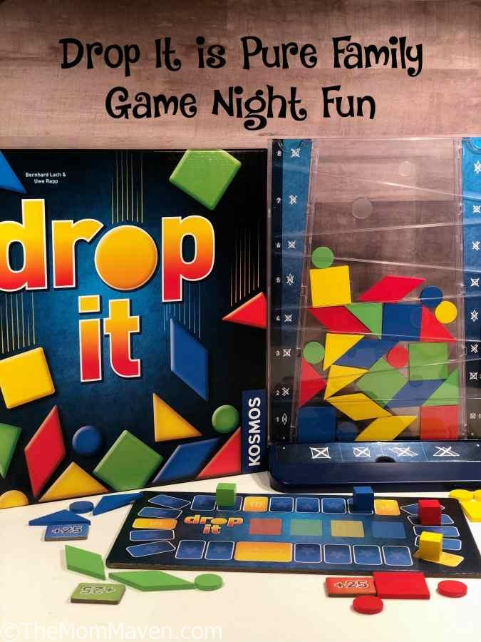 Drop It is a colorful, inventive family game that is easy to learn but deceptively mind-boggling! #familygamenight