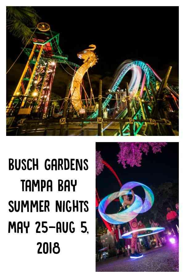 As the sun goes down, the night comes alive at Busch Gardens Tampa Bay's Summer Nights. New this year, the event starts earlier than ever on May 25. The event features extended hours, endless energy and world-class coasters that light up the night.