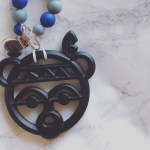 Warrior Bear teether with customize pacifier clip