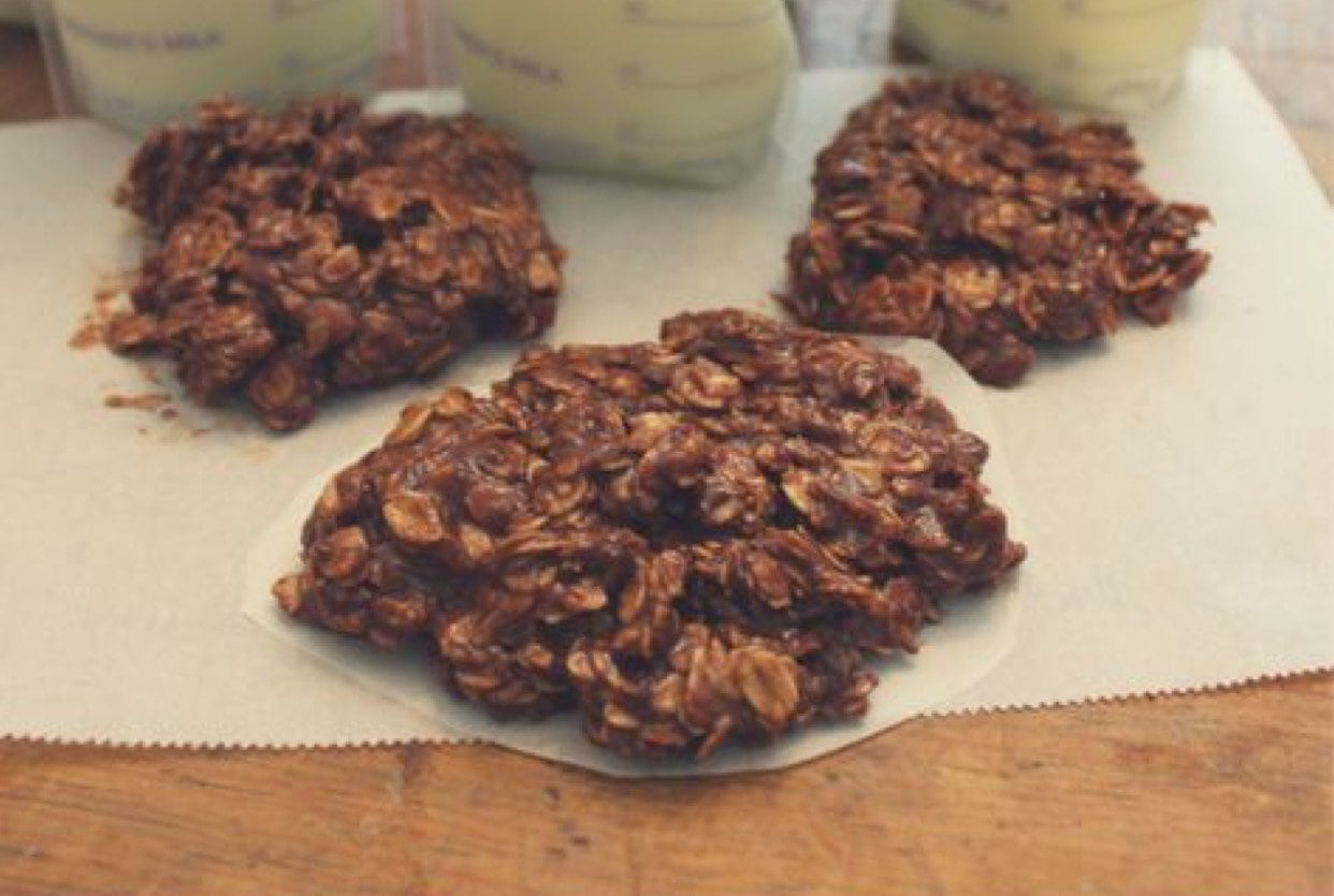 CHOCOLATE OAT COOKIES ON PARCHMENT PAPER