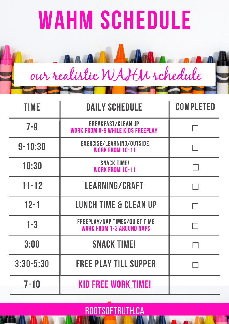 work at home mom schedule/work at home moms